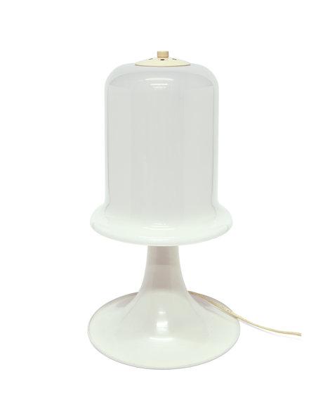Schemerlamp, design, metaal met wit glazen lampenkap, ca. 1960