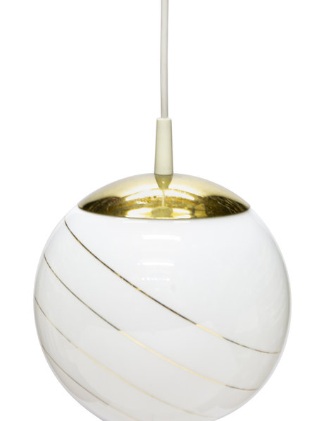 Retro hanging lamp, glass sphere on a cord, 1960s