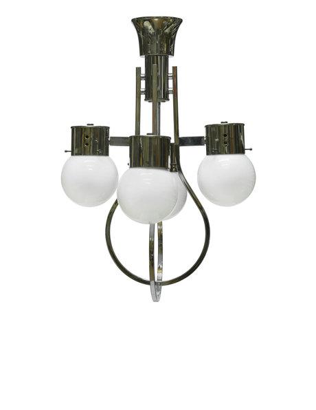 Fraaie hanglamp, witte bollen, ca. 1950