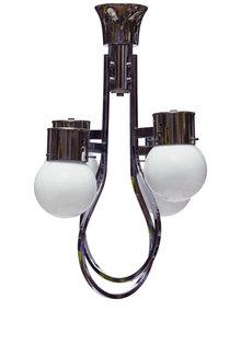 Jaren 50 Hanglamp, Chroom en Wit Glas