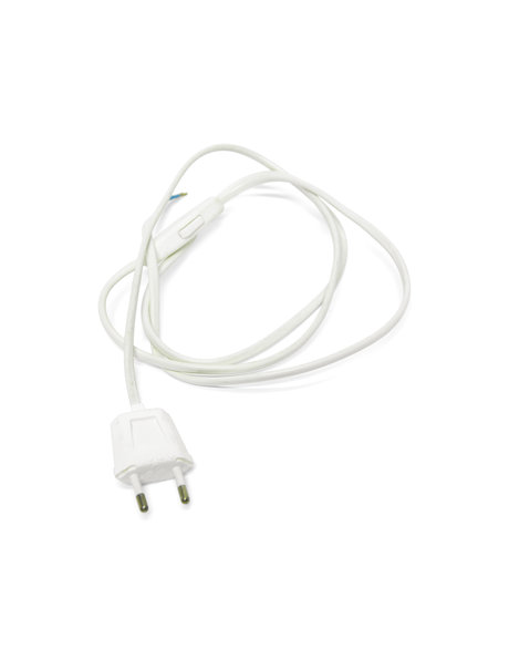 White electrical cord with switch and plug