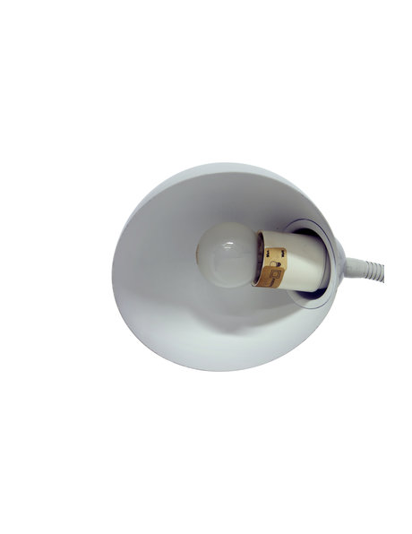 Vintage bureaulamp, licht grijs met deels buigbare arm, ca. 1970