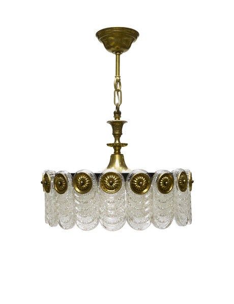 Vintage pendant lamp, black, gold and frosted glass, 1960s