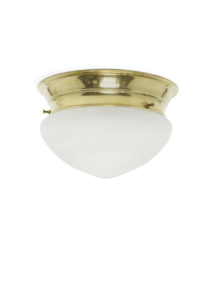 Old Ceiling Lamp, Frosted Glass Shade, Gold-Coloured Ring