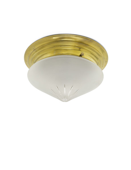 Classic ceiling lamp, 1930s, frosted glass tip in copper frame