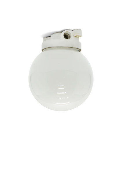 Industrial Ceiling Lamp, White Glass Globe, 1930s