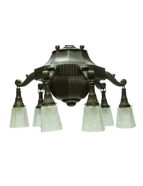 Houten hanglamp, 6 armig met glazen kapjes, jaren 40