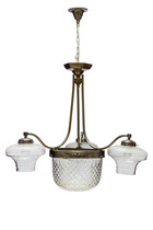 Antieke Hanglamp, Geslepen Glas