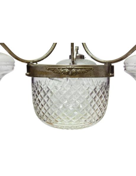 Antieke hanglamp, grote lamp met 4 lichtpunten, ca. 1930