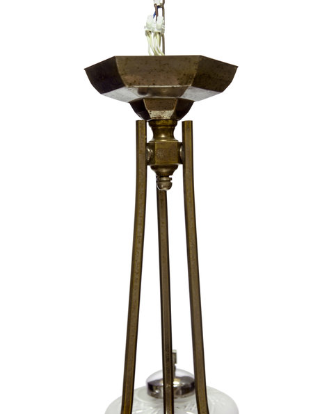 Antique pendant lamp, large lamp with 4 light points, 1930s