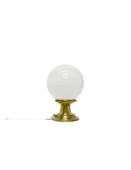 Ceiling lamp, glass ball lamp on a copper base, 1940s