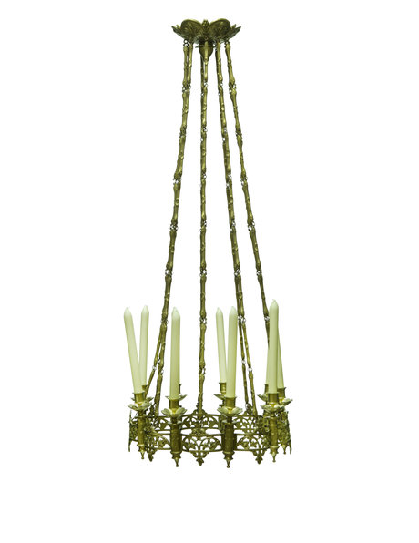 Copper hanging lamp for 9 real candles, 1900s