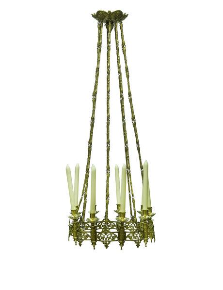 Koperen hanglamp voor 9 echte kaarsen, ca. 1900