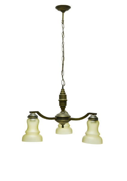 1930s Pendant Lamp, Burnished Copper, 3 arms