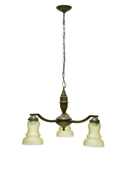 Jaren 30 Hanglamp, Gebruineerd Koper, 3 armen