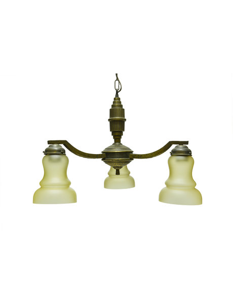 1930s pendant lamp, 3 arms, burnished