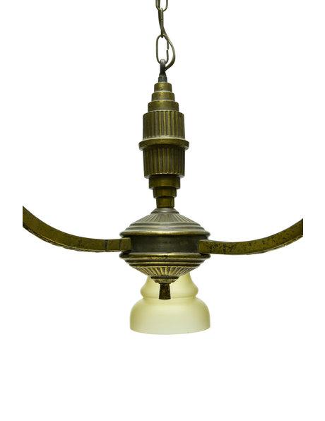 Jaren 30 hanglamp, 3 armig, gebruineerd