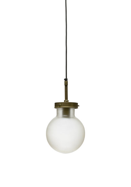 Pendant Lamp, Frosted Glass Sphere on Pipe, 1940s