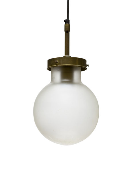 Old hanging lamp, frosted glass sphere on rod, 1940s
