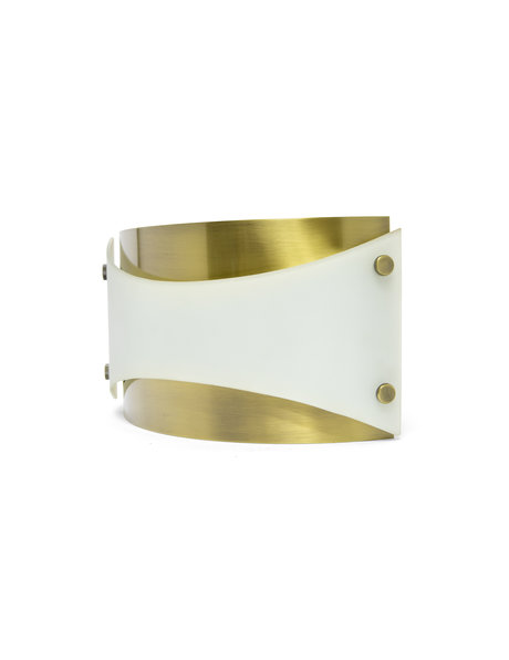 Design wall lamp, gold and white, 1970s