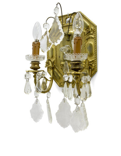 Brocante wall lamp with 2 electric candles, 1920s
