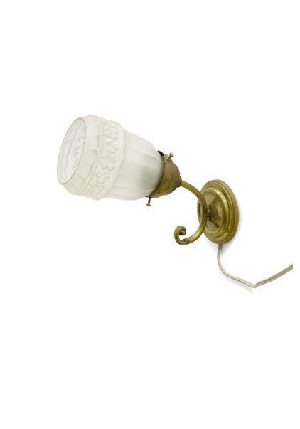 Jaren 30 Wandlamp, Goudkleurig Koper en Matglas