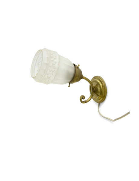 Old wall lamp, frosted glass shade, 1930s