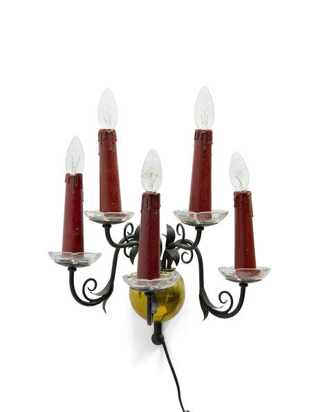 Antieke wandlamp, met 5 rode kaarsen, ca. 1930
