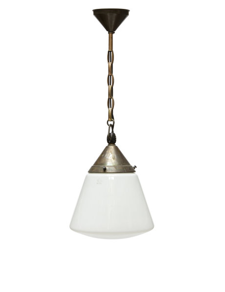hanging lamp, glass lampshade, copper fixture, 1930s