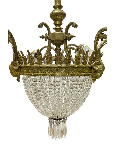 Large Classic Pendant Lamp, Bronze Fixture, 1930s
