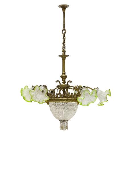 Grote klassieke hanglamp bronzen armatuur,, ca. 1930