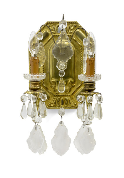Brocante Wall Lamp, Copper and Crystal, 1920s