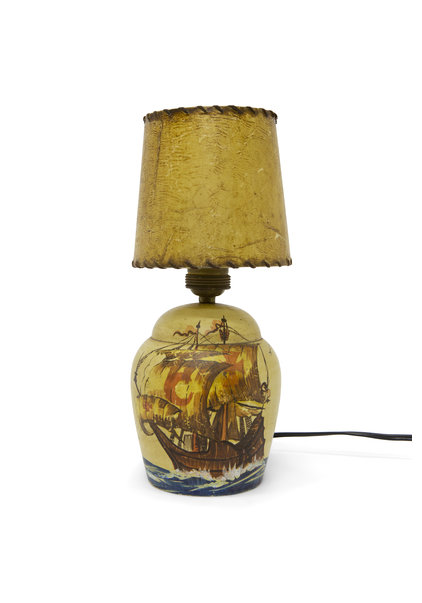 """Keramieken Tafellampje """"Zeilschip"""", Jaren 60"""