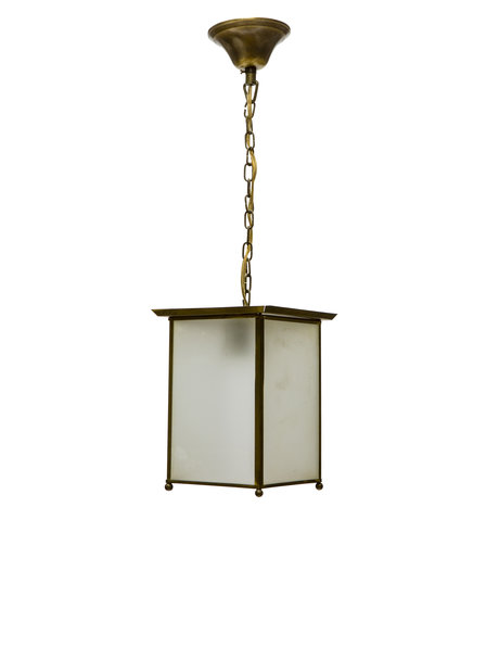 Lantern hanging lamp, frosted glass, 1940s