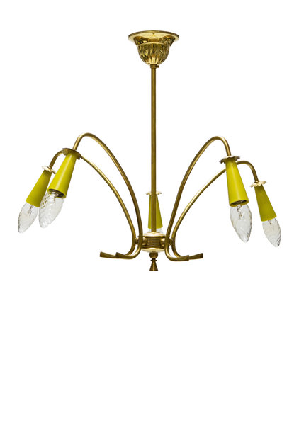 Vintage Pendant Lamp, Sputnik Style, 1950s, copper
