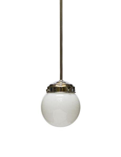 Old hanging lamp, white glass globe, 1940s