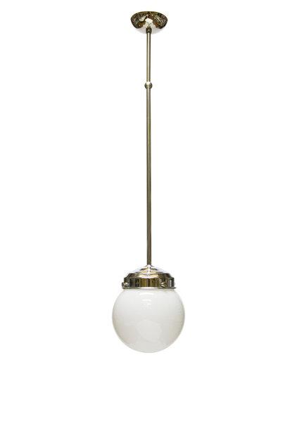 Hanglamp, Witte Bol aan Chromen Stang, Jaren 40