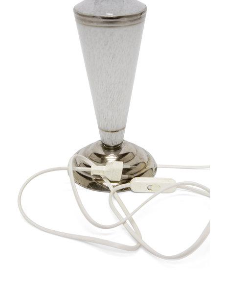 Chromen tafellamp met gewolkt glazen kap, ca. 1940