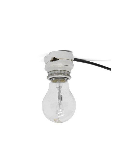 Industriele plafondlamp van porselein zonder lampenkap, ca. 1930