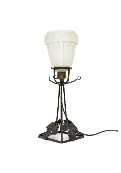 Brocante Tafellamp, Zwart en Matglas, Jaren 30