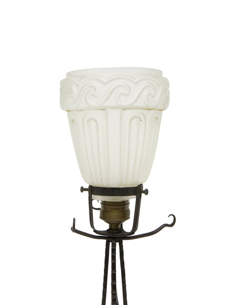 Brocante table lamp, frosted glass shade, 1930s