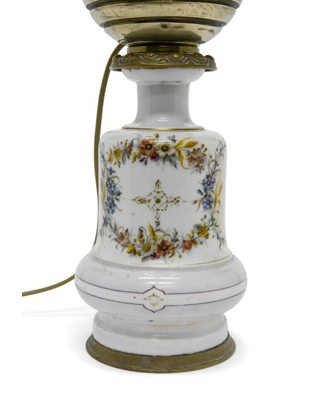 Brocante table lamp, a converted oil lamp, 1930s