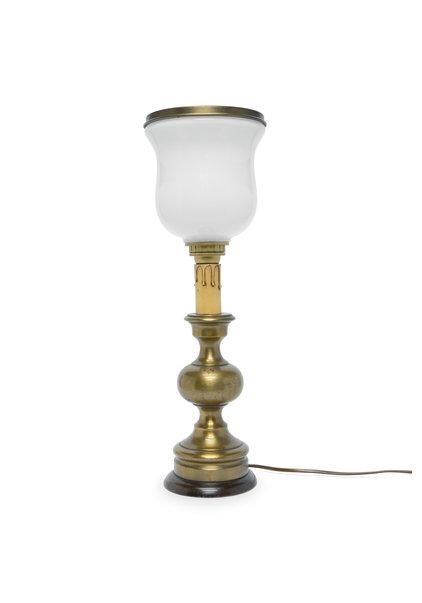 Brocante Tafellampje, Wit Glazen Kap