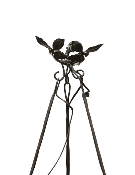 Signed hanging lamp of mouth-blown glass with wrought iron fitting, 1930s