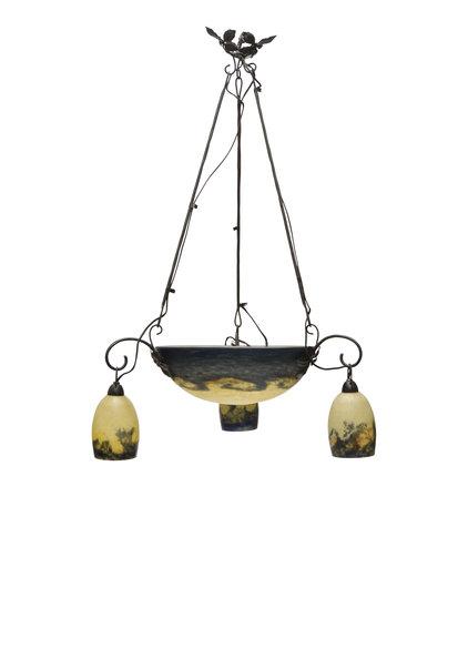 "1930s Pendant Lamp, Signed ""Delatte"""
