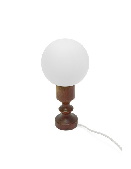 Vintage table lamp, red wood with white sphere, 1960s