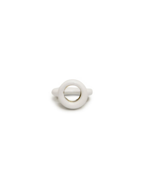 Ophang oogje van wit gecoat metaal, schroefdraad opening is 1 cm (M10x1)