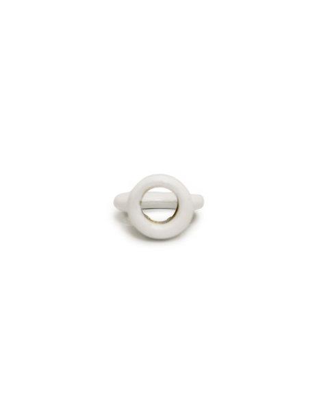 Ring Nipple (loop gripper), made of white coated metal, screw thread opening is 1.0 cm / 0.39 inch (M10x1)