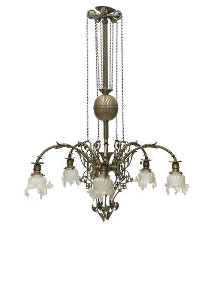 Grote Klassieke Hanglamp, 5 armen, Jaren 30