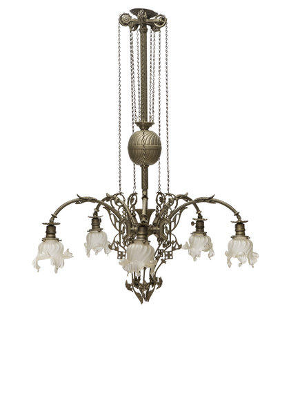 Large Classic Pendant Lamp, 5 arms, 1930s